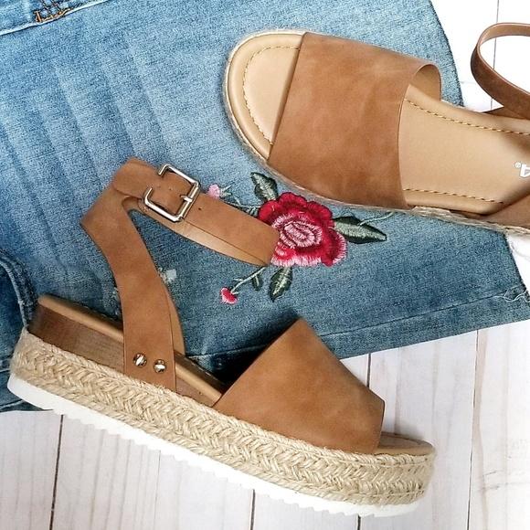 047dcb096d0 Topic Tan Open Toe Platform Espadrille Sandals